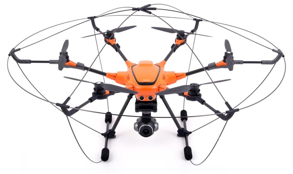 parked orange drone