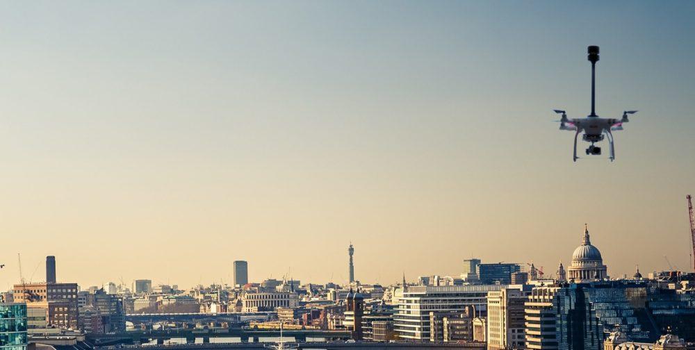 Drone being flown across London