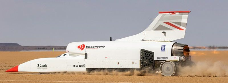 Bloodhound vehicle driving across the dessert