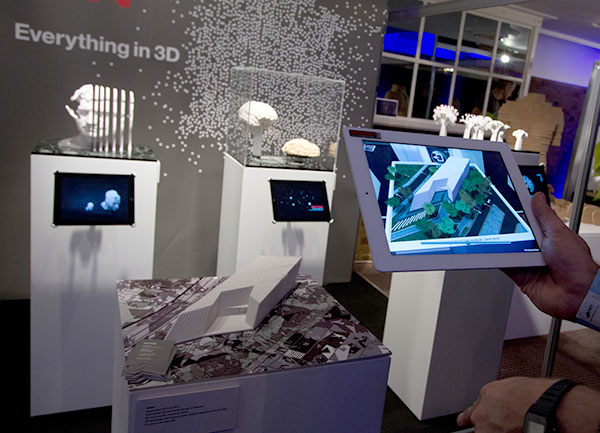 3d printed prototypes on display at an exhibition